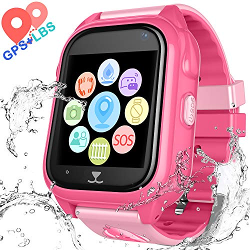 Kids Waterproof Smartwatch with GPS Tracker - Boys & Girls IP67 Waterproof Smart Watch Phone with Camera Games Sports Watches Back to School Supplies Grade Student Gifts (02 S8 Pink) ()