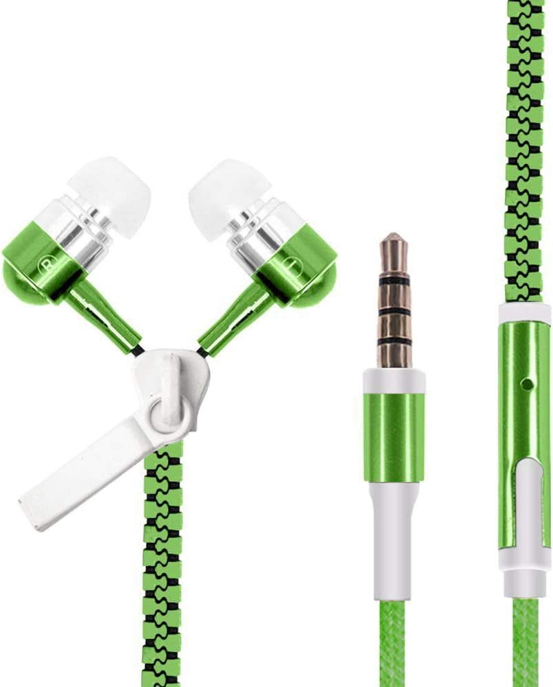 AKJHFS Headphone Glowing Zipper Headphones Luminous Headset Sport Earbuds Music Wired Earphones for iPhone for Samsung for Xiaomi 3.5mm Plug (Color : Green)