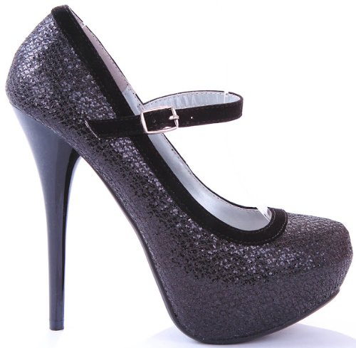 Trim Platform Pump (JJF Shoes Black Neutral Sparkle Glitter Mary Jane Velvet Trim Evening Stiletto Heel Platform Pump-10)