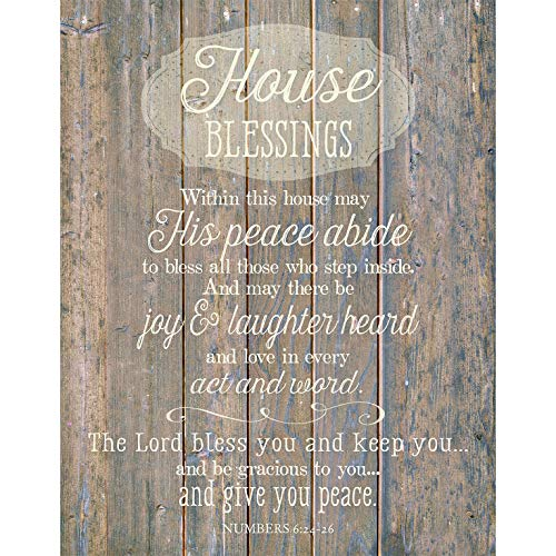 """House Blessing Wood Plaque Inspiring Quote 11.75""""x15"""" - Classy Vertical Frame Wall Hanging Decoration 