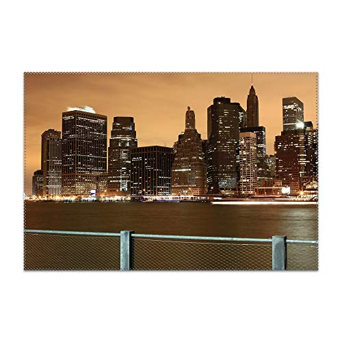 Skyline Night Building City Table Mats,Placemat Non-Slip Washable Place Mats,Heat Resistant Kitchen Tablemats for Dining -