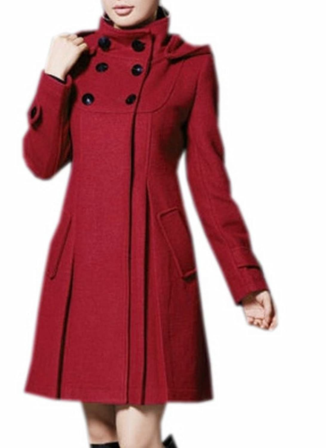 XQS Womens Classic Outerwear Double-Breasted Slim Peacoats