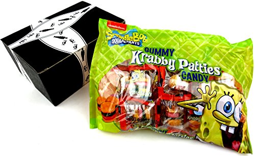 SpongeBob SquarePants Gummy Krabby Patties Candy, 6.34 oz Bags in a BlackTie Box (Pack of 3)