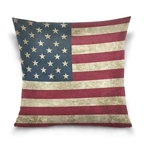 Vipsk Cushion Case Pillow Cover Pillowcase Square 16 x 16 Inch Velveteen Ancient American Flag