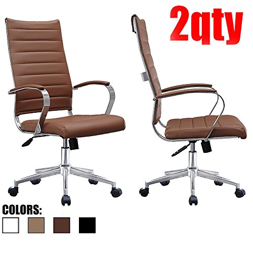 2xhome Set of Two (2) - Brown- Modern High Back Tall Ribbed PU Leather Swivel Tilt Adjustable Chair Designer Boss Executive Management Manager Office Conference Room Work Task (Boss High Back Swivel)