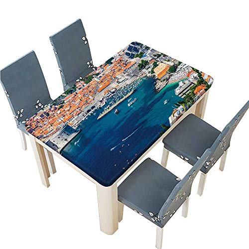 PINAFORE Tablecloth Waterproof Polyester Table Beautiful Dubrovnik City in Croatia seen from The top in a Tablecloth for Wedding/Party W53 x L92.5 INCH (Elastic Edge) ()