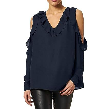 Ropa de Mujer Invierno 2018, ❤ Zolimx Moda Camisetas Mujer Originales Gasa Sólido T