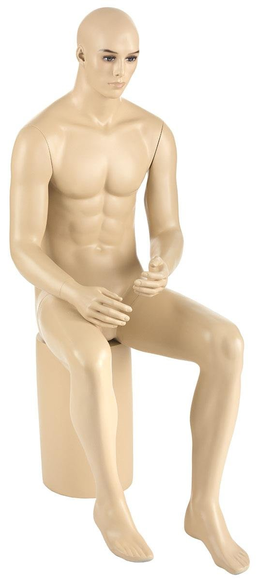 Displays2go, Seated Male Mannequins with Base, Fiberglass Construction, Realistic Face – Flesh Tone Finish (ZRSMMGZM3S)