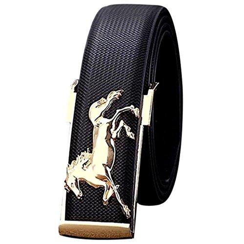 Men's Belt, Voberry® Gold Horse Leisure Leather Metal Buckles Belt for Men (Black)