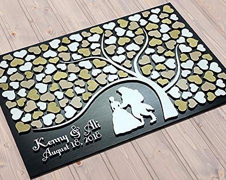 Cam565b Beauty and the Beast Wedding guest book Keepsake Gift alternative Custom tree of hearts Gold and White 3d wooden guestbook Keepsake Gift