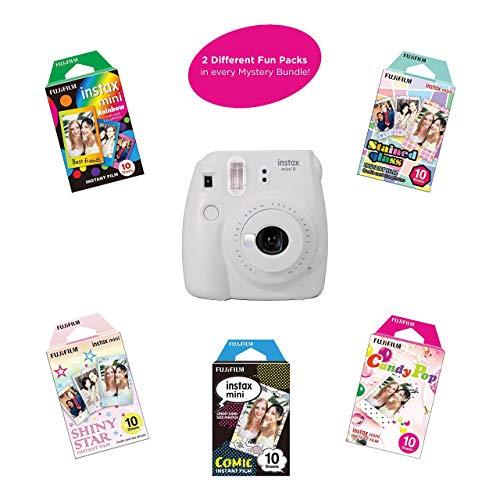 Fujifilm Instax Mini 9 Instant Camera | Includes 2 Rainbow Film Packs (20 Photo Sheets Total) | Auto Lens & Light Exposure Setting | (Smokey White) (Renewed)