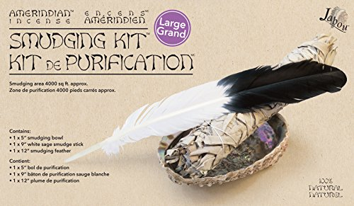Jabou Amerindian Incense - Smudging Kit - 12-inch Feather with 9-inch White Sage - for Home and Person Cleansing