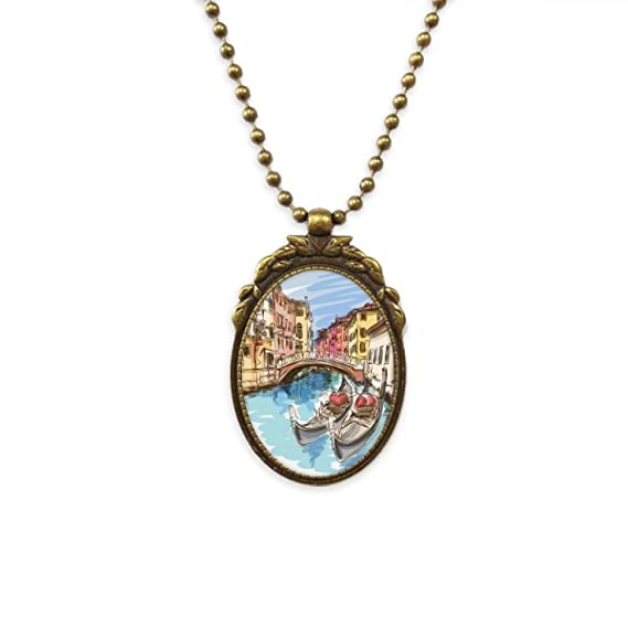 DIYthinker Italy Venice Landmark Watercolour Necklace Antique Guitar Jewelry Music Pendant