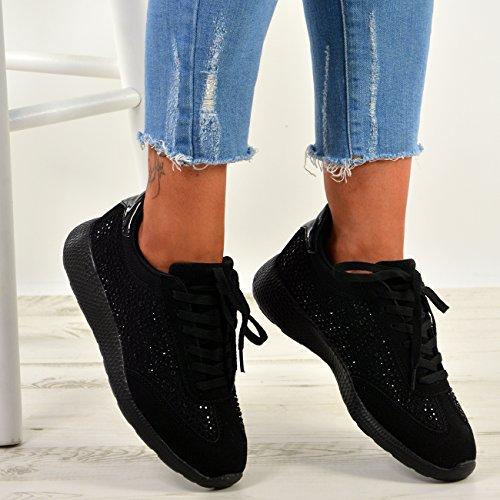 y Plimsoll con Zapatillas para deporte deporte cordones Cucu de Negro con tachuelas New para de Fashion Zapatillas mujer zapatillas correr 77qOYw
