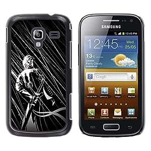 LECELL--Funda protectora / Cubierta / Piel For Samsung Galaxy Ace 2 -- B & W Guerrero japonés --