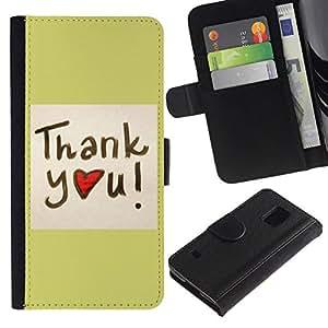 All Phone Most Case / Oferta Especial Cáscara Funda de cuero Monedero Cubierta de proteccion Caso / Wallet Case for Samsung Galaxy S5 V SM-G900 // Thank You