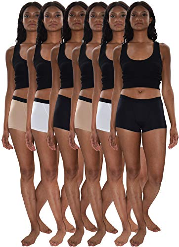 (Sexy Basics Women's 6 & 12 Pack Modern Active Boy Short Boxer Brief Panties (6 Pack- Black/White/Khaki Nude, 2XL))