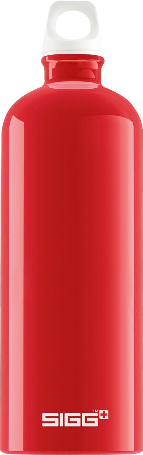 Sigg Fabulous Red Botella cantimplora (1 L), Botella con Tapa hermética sin sustancias nocivas, Botella de Aluminio Ligera y Robusta