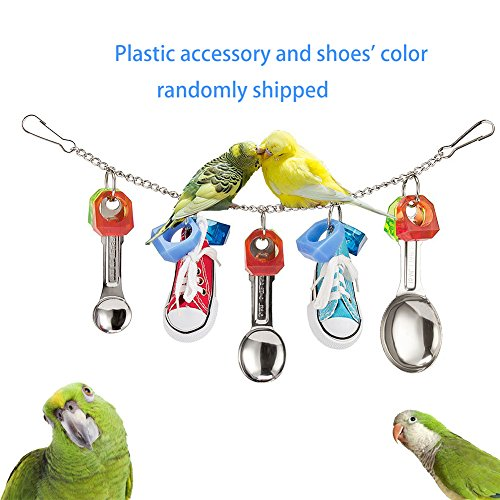 Parrot Chew Toys Shoes with Metal Spoons for Parrots Parakeet Cockatiel  Conure African Greys Amazon Cockatoo Macaw and Cage Decoration, 12 4 Inch
