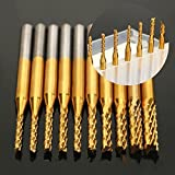 10pc 1.5-3.175mm SHK Wood cutter CNC Router Bits Corn End Mills Corn Milling Cutter Spiral PCB Cutter Tool Engraving Bits