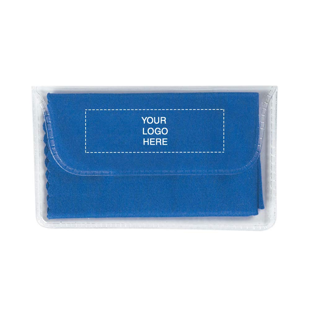 Microfiber Cleaning Cloth in Case | 250 Qty | 0.96 Each | Customization Product Imprinted & Personalized Bulk with Your Custom Logo Royal Blue by Promo Direct