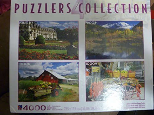 (Puzzlers 4 Jigsaw Puzzle Collection, Chateau de Chenonceaux, Pond and Mountains, Red Barn (Oregon), Old Town Market, each 1000 piece puzzle )