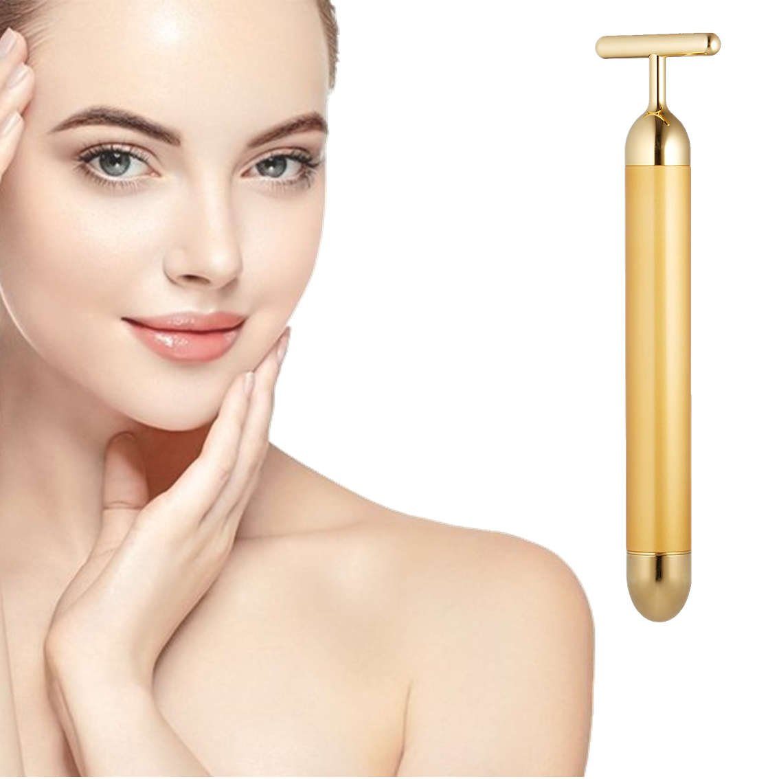 24k Golden pulse facial massager, Instant Face Lift, Anti-Wrinkles,Skin Tightening, Face Firming, Eliminate Dark Circles, and a good Anti-Aging Device for Man and Women (Gold)