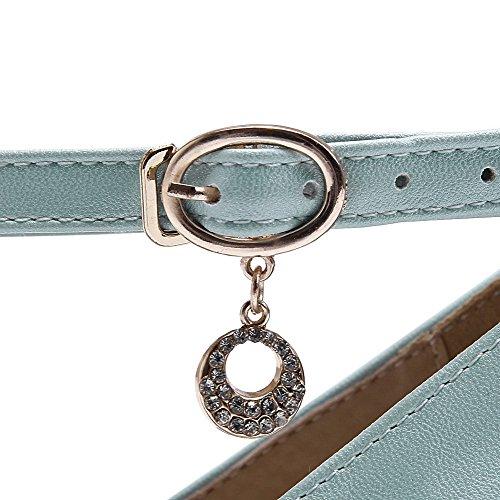 Pu In Donna Tacco Blu Cinturino Solido Con E Chiusa Punta Scarpe Fibbia Da Voguezone009 0qExtwIw