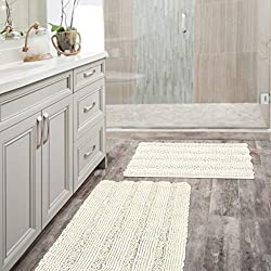 "2 Size Super Thick Soft Striped Shaggy Microfiber Bath Mat Floor Rugs Machine Washable Bath Rugs Set for Bathroom/Kitchen Dry Fast Water Absorbent Bedroom Area Rugs, Ivory (Pack 2-20"" x 32""/17"" x 24"")"
