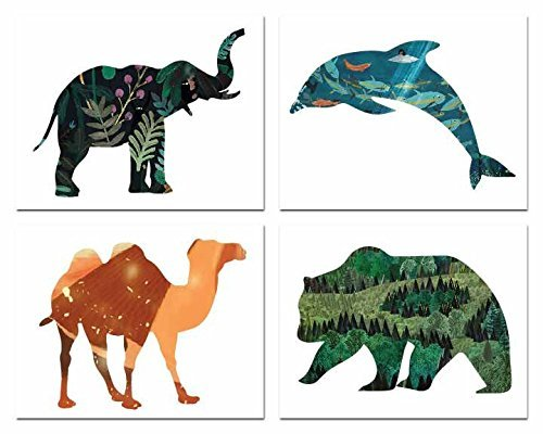 Animal Habitat Collection (Set of Four 08x10 Inch Print Wall Art Prints), Nursery Decor, Kid's Room Decor, Gender Neutral Nursery Decor, Baby Room, Playroom Decor, Nursery Rhyme