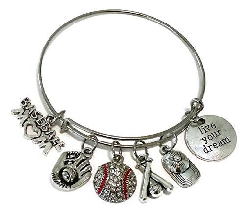Baseball Mom bracelet, baseball bracelet, Sports bracelet, baseball charm, baseball glove bracelet, Basball bats bracelet, Baseball cap bracelet, Baseball Mom bangle - Bracelet Charm Baseball
