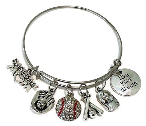 Baseball Mom bracelet, baseball bracelet, Baseball jewelry, Sports bracelet, baseball charm, baseball glove bracelet, Basball bats bracelet, Baseball cap bracelet, Baseball Mom bangle bracelet