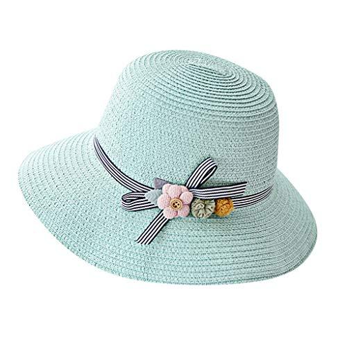 (Womens Straw Hat Wide Brim Floppy Beach Cap Adjustable Sun Hat for Women UPF 50+ Green)
