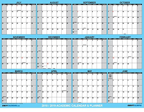 SwiftGlimpse 2018-2019 Academic Wall Calendar Erasable Large Jumbo Oversized Wet & Dry Erase Laminated 12 Month Planner, June - July - CLASSIC BLUE (32x48 Horizontal) Horizontal Wall Planner