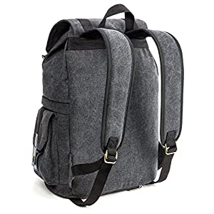 Evecase Convertible School / DSLR Camera Lens Canvas Backpack Rucksack with Rain Cover - Black for Canon, Nikon, Sony, Fujifilm, Panasonic, Pentax, Samsung, Olympus and more