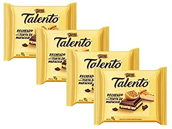 GAROTO Talento Chocolate 90 gr. each - PACK of 4. (Chocolate Recheado sabor