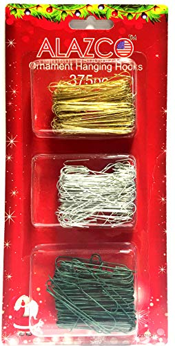 ALAZCO Set of 375pc Ornament Hanging Hooks in Gold, Silver & Green (125pc Each) - Mix & Match Holiday Ornaments Decorations Tree, Garlands & Wreaths