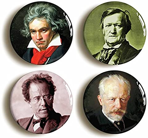 Romantic Classical Composers Button Pin Set (Size Is 1inch Diameter) Beethoven, Mahler, Tchaikovsky, (Wagner Composer)