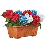 Collections Etc Patriotic Outdoor Artificial Hydrangea Flower Arrangement Window Planter Box Decoration