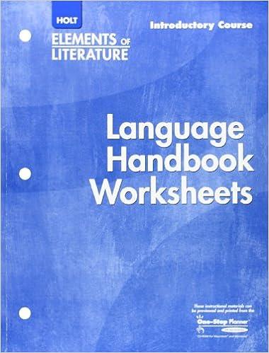 Holt Elements of Literature: Language Handbook Worksheets ...