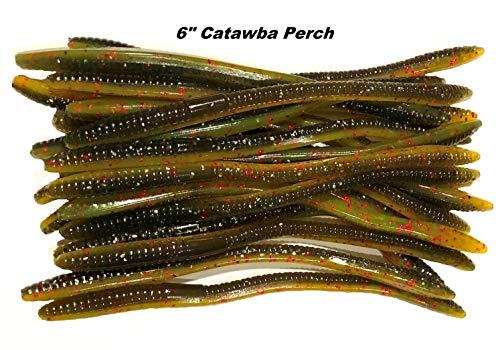 "40 Pcs 6"" Finesse Worms, Soft Plastic Baits, Bass Fishing Lures (Catawba Perch)"