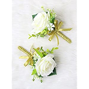 Secret Garden Luxury Roses Boutonniere Pins for Wedding prom party (2pcs) (Gold theme) 111