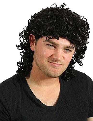 Kenny Powers Halloween Costumes (My Costume Wigs Men's Kenny Powers Wig/Curly Mullet (Black) One Size fits all)
