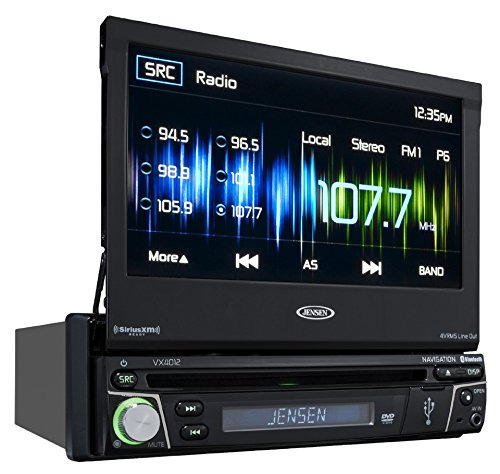 Jensen VX4012 1 DIN Multimedia Receiver, 7' Touch Screen with Bluetooth, HDMI/MHL & Built-in USB Port (Black)