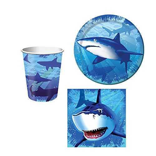 Creative Converting Shark Splash Birthday Party Set: Plates, Napkins, and Cups Kit for 16]()