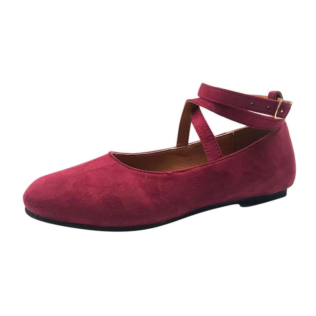 Women's Fashion Casual Solid Roman Buckle Strap Round Head Sandals Cross Strap Flat Shoes Wine