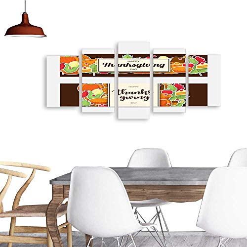 5 Piece Wall Art Painting Set of happy thanksgiving banner with flat icon Can be used for poster banner flyer invitation website or greeting card Vector illustration2. The Picture Decor For Home Mod