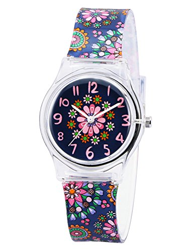 Zeiger KW086 Kids Children Girls Watch Age 3-7 Time Teacher Watch with Silicon Band Small Size(Black Small Floral)