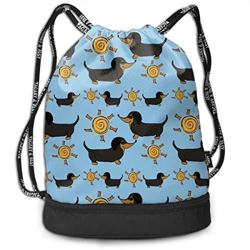 YyTiin Sunshine Garden Doxies Unisex Waterproof Drawstring Backpack Sports Dance Storage Bags Sackpack Gym Traveling -