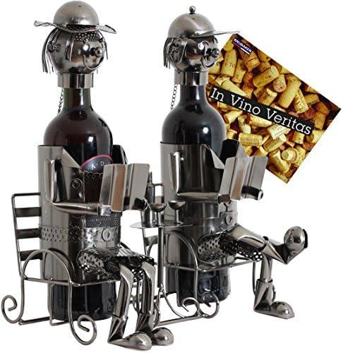 BRUBAKER Flaschenhalter Ehepaar Metall Skulptur Geschenk mit Geschenkkarte
